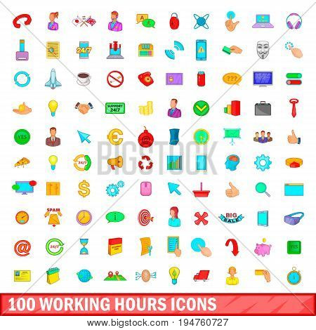 100 working hours icons set in cartoon style for any design illustration