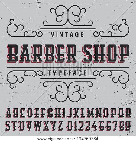 Barber shop typeface poster  with sample label design on grey background vector illustration