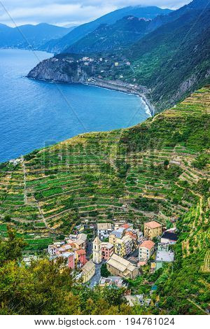 Manarola town in Cinque terre view from above. under UNESCO World Heritage. Beautiful mountain and sea background. Pearl in the mountain