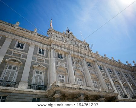 Part of Palacio Real de Madrid or Royal Palace of Madrid in Spain.