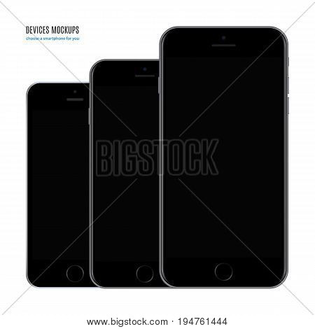 smartphone mockup set black color with blank screen isolated on white background. stock vector illustration eps10