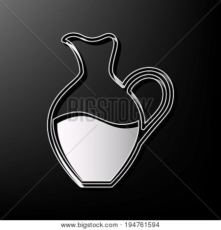 Amphora sign. Vector. Gray 3d printed icon on black background.