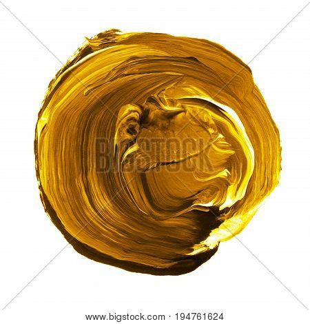 Acrylic Circle Isolated On White Background. Yellow, Gold Round Watercolor Shape For Text. Element F