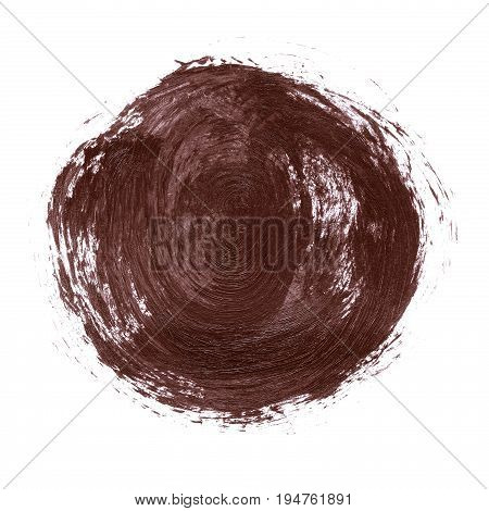 Acrylic Abstract Dark Brown Circle Isolated On White Background.