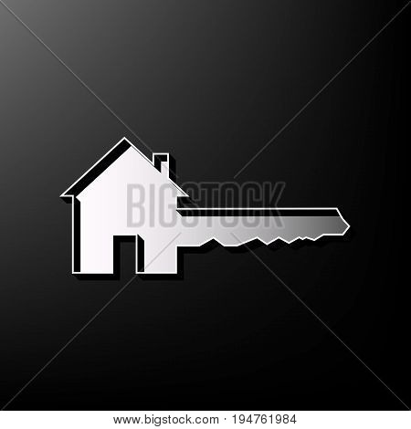 Home Key sign. Vector. Gray 3d printed icon on black background.