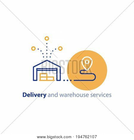 Wholesale warehouse distribution center concept, delivery chain solution and transportation services logo elements, shipping multiple order line icon, combined parcel outline vector poster