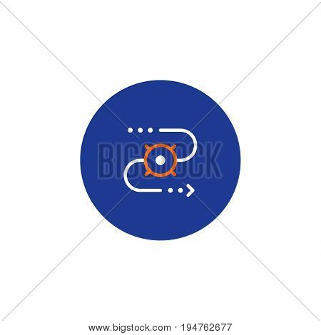 Shipping order and delivery tracking system services, relocation concept, transportation company logo elements, distribution line icon, tracking parcel outline vector
