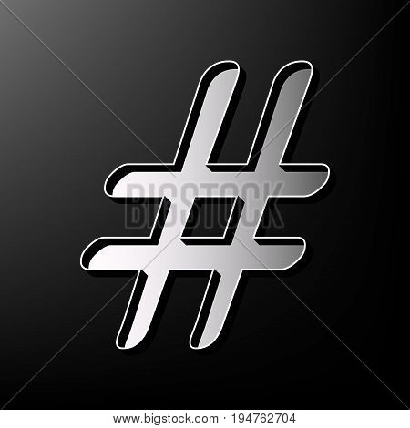 Hashtag sign illustration. Vector. Gray 3d printed icon on black background.