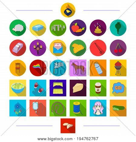 medicine, business, nature and other  icon in flat style. tourism, trade, textiles, icons in set collection