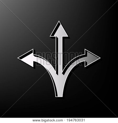 Three-way direction arrow sign. Vector. Gray 3d printed icon on black background.