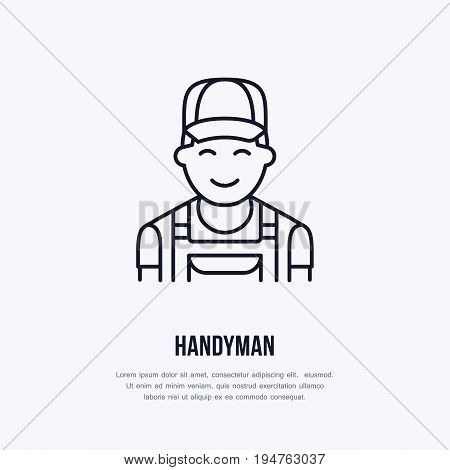 Handyman services logo, repairman flat line icon. Smiling work man thin linear sign for plumber, mechanic or carpenter service.