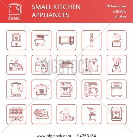 Kitchen small appliances line icons. Household cooking tools signs. Food preparation equipment - blender, coffee machine, microwave, toaster, meat grinder. Thin linear signs for electronics store.