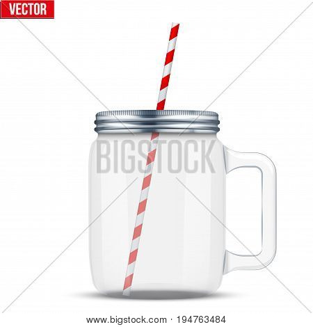 Glass Mason Jar with handle for cocktail and lemonade and smoothie. For bar and restaurant menu. Vector Illustration isolated on white background.