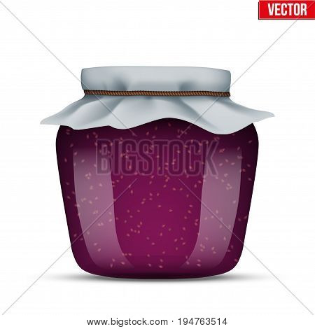 Canning Glass Jar with raspberries jam and closed cloth cover. Vector Illustration isolated on white background.