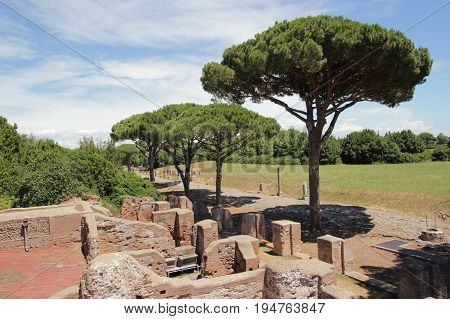 OSTIA ANTCA ITALY , remains of Ancient Ostia town built on both the sea and the Tiber river near Rome this special position determined its relevance.