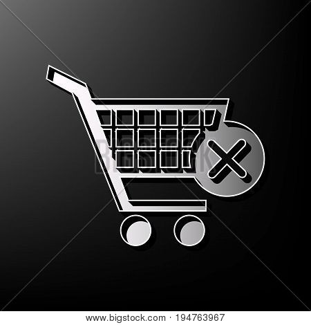 Shopping Cart with delete sign. Vector. Gray 3d printed icon on black background.