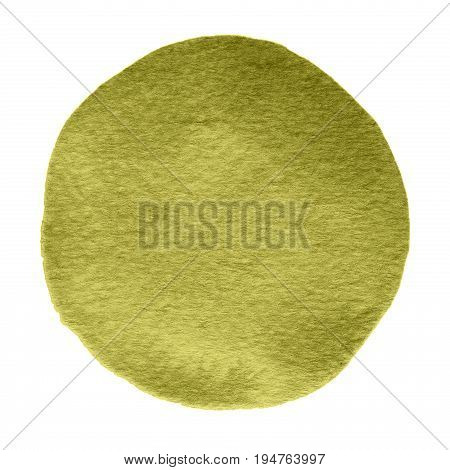 Olive Gold Watercolor Circle. Watercolour Stain On White Background.