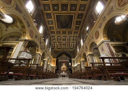 ROME ITALY - JUNE 29 2017: San lorenzo in Lucina ancient Roman basilica dedicated to St. Lawrence deacon and martyr. The name
