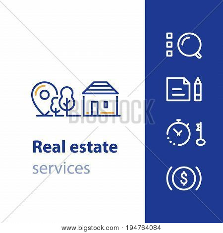 Detached house location, suburban home, real estate services concept, residential neighborhood vector line icon