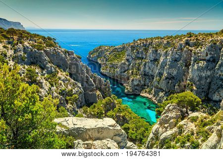 Breathtaking viewpoint on the cliffs Calanques D'En Vau bay Calanques National Park near Cassis fishing village Provence South France Europe