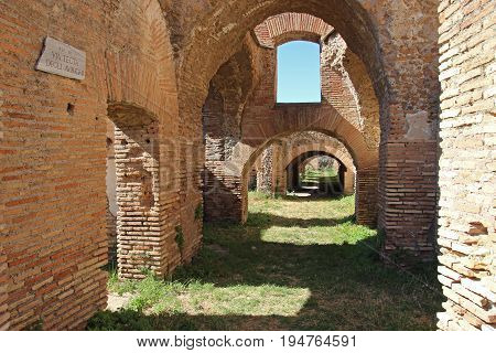 OSTIA ANTCA ITALY - JULY 2 2017: remains of Ancient Ostia was a town built on both the sea and the river and such a special position determined its relevance.