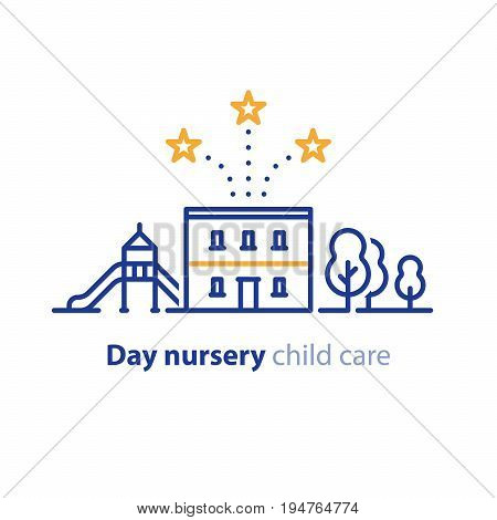 Kindergarten concept, day care nursery for children, vector line icon