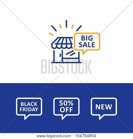 Shopping big sale, black Friday announcement, speech bubble, promotion, vector line icon
