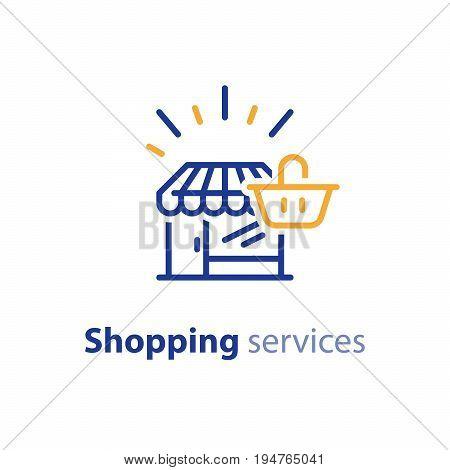 Shop line icon, shopping basket, make order