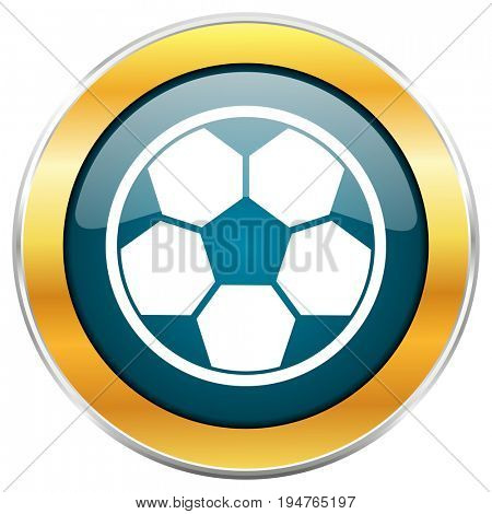 Soccer football play blue glossy round icon with golden chrome metallic border isolated on white background for web and mobile apps designers.