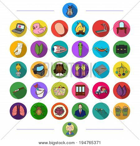 nature, fishing, history and other  icon in flat style., tourism, sport, medicine icons in set collection