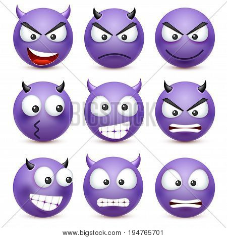 Smiley, emoticon set. Blue face with emotions. Facial expression. 3d realistic emoji. Sad, happy, angry faces.Funny cartoon character.Mood. Web icon. Vector illustration.