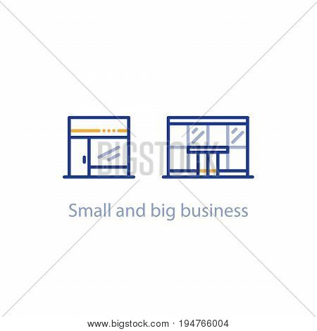 Small and big business comparison, shop and office building, vector line icon