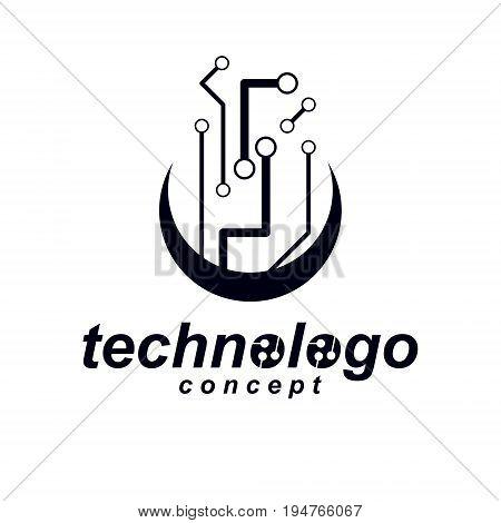 Vector circuit board digital technologies abstraction. Computer microprocessor scheme futuristic design. Modern technology communication logo.