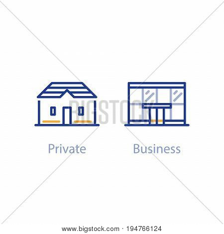 Private and business approach, retail and corporate customer services concept, vector line icon