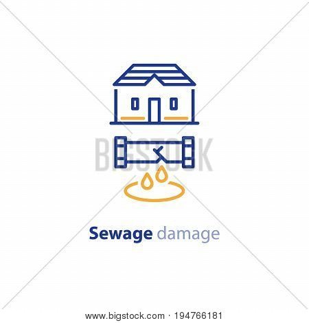 Sewage break, pipes damage, water leakage, house repair and cleaning services, vector line icon