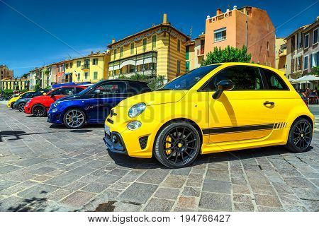 Spectacular colorful modern cars parked in a row near Marseilles Cassis France Europe