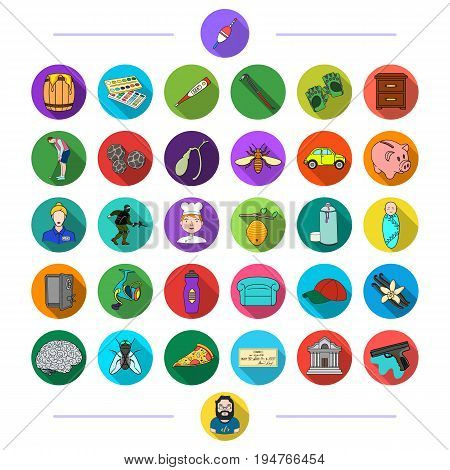textile, sports, bank and other  icon in flat style.waste, business, medicine, icons in set collection