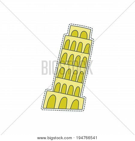 Hand drawn patch badge with Italy symbol - Pisa tower. Sticker, pin and patch in cartoon 80s-90s comic style