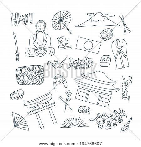 Hand drawn icons with Japan symbols - Kimono sakura flag buddha rice sushi stone garden rice origami geisha. Stickers, pins and patches in line style.