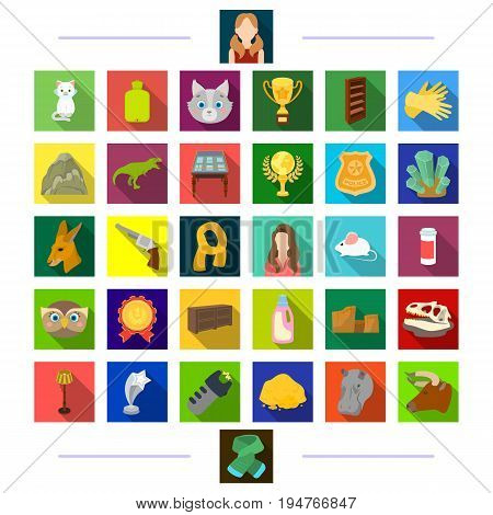 , nature, business, sport and other  icon in flat style. achievements, hairdresser, tourism icons in set collection