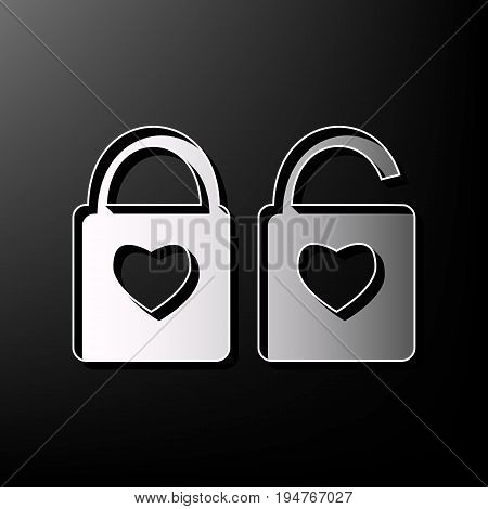 lock sign with heart shape. A simple silhouette of the lock. Shape of a heart. Vector. Gray 3d printed icon on black background.