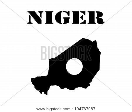 Black silhouette of the map and the white silhouette of the Isle of Niger symbol