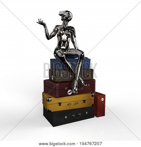 The stylish cyborg the woman sits on old suitcases. 3d illustration.