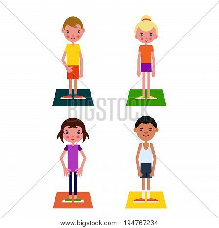 Set of students who are ready to begin physical education classes which stand on gym mats.