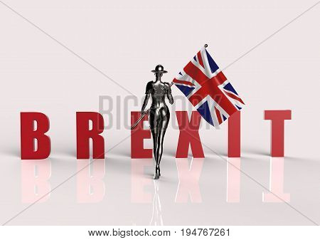 3D illustration. The stylish cyborg the woman with flag of Great Britain. Brexit referendum UK Futuristic fashion android.