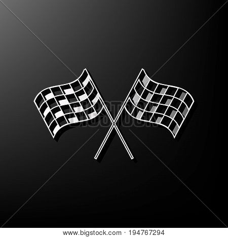 Crossed checkered flags logo waving in the wind conceptual of motor sport. Vector. Gray 3d printed icon on black background.