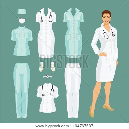Vector illustration of woman doctor in medical gown. Medical pants, jacket, gown, cap, gloves and mask isolated on color background.