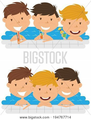 Cute cheerful boys relaxing and drinking cocktails in the pool. Young teens having fun in outdoor swimming pool. Summer vacation in the resort vector illustration.