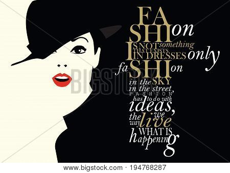 Fashion quote with fashion woman. Vector illustration