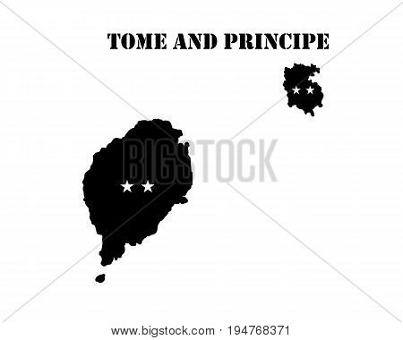 Black silhouette of the map and the white silhouette of the Isle of Tome and Principe symbol